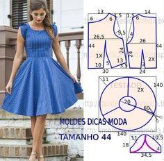 O molde de vestido panos fácil encontra-se no tamanho 44. A ilustração do molde de vestido não tem valor de costura. Descrição do modelo, vestido descontra