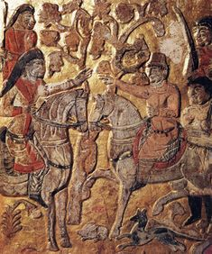 An Qie meets a noble Turk during hunting (the upper level of the panel) (Anjia [An Qie] Tomb 2003, p. 181).