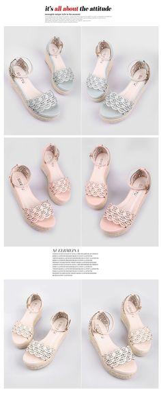 Summer Hollowed Ankle Strap Wedgae Sandal #sandal #wedgesandal