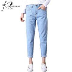 2b65c2c3616 2018 Autumn Ladies High Waist Mom Female Boyfriend Jeans For Women Trousers  Pencil Pants Denim Black Jeans Woman Plus Size 25-34