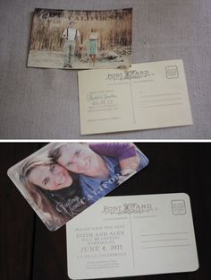 Vintage postcard look - Wedding save the dates