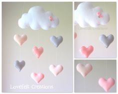 Baby mobile - heart mobile - cloud mobile - pink and gray mobile phone- Babymobile – Herz Mobile – Cloud-Handy – Rosa und grau Handy Baby mobile mobile heart cloud mobile by lovefeltmobiles on Etsy - Cloud Mobile, Mobile Mobile, Bird Mobile, Mobile Kids, Baby Crafts, Felt Crafts, Diy And Crafts, Baby Decor, Nursery Decor