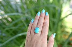 Turquoise and diamond one of a kind 14k yellow gold Shaesby ring