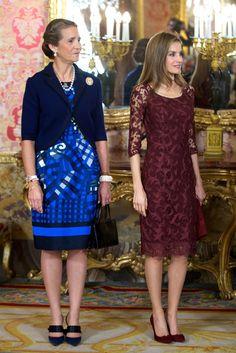 Princess Letizia of Spain stood alongside Princess Elena for Spain's National Day Royal Reception in October 2013.