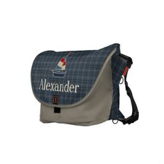 Nautical Blue Sailboat Personalized Messenger Bags