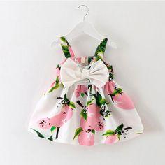 Infantil ropa de bebé marca de diseño sin mangas de impresión bow dress 2016 verano niñas ropa de bebé fresco del partido de la princesa vestidos de algodón