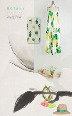 Botanical dress and accessories