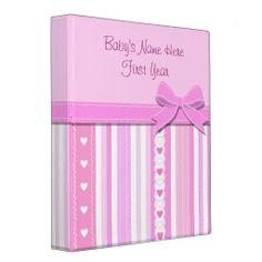 Baby Girl Photo Album 3 Ring Binders