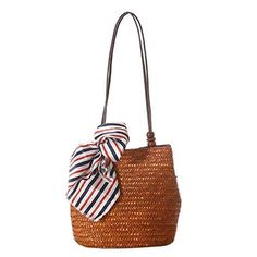 d5b5a27840 LUNA   TERRA - Straw Rattan Handmade Weave Boho Scarf Tote Bag Handbag for  Women