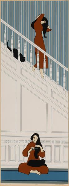 The White Staircase  | seriograph of  woman and cat  1974  | Will Barnet