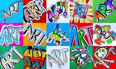 We started our activity in the Grade 8th classes with these writings in graffiti style. Every student wrote the word ART, taking inspiration from this previous lesson. Following one of the many tut…