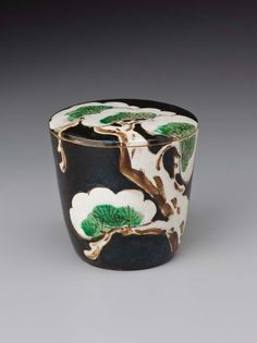 Tea container with snow-laden pine design Japanese Edo period 1850 Miura Ken'ya (Japanese, 1821–1889)