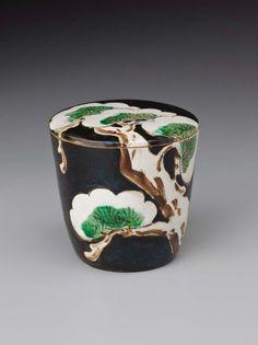 Tea container with snow-laden pine design Japanese Edo period 1850 Miura Ken'ya (Japanese, 1821–1889)
