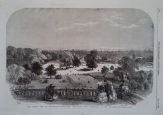 1858 PRINT ASTON PARK,FROM ASTON HALL WITH BIRMINGHAM IN THE DISTANCE