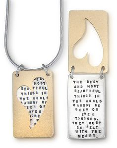 Sterling Silver and Brass Inspirational Necklace - Helen Keller