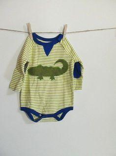 Alligator Long Sleeved Baby Bodysuit by stelladottie on Etsy