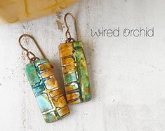 Polymer Clay Earrings Jewelry featuring a Tropical Watercolor Design in Gold, Teal and Green