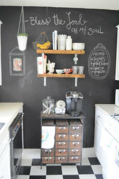 The Vanilla Tulip: Living Small- Our Kitchen (we could shelves like that in our kitchen)