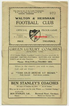 1950 Walton & Hersham v Hounslow Town Football Programme Football Program, Football Cards, Football Players, Everton Fc, Programming, Coaching, Amp, London, Ebay