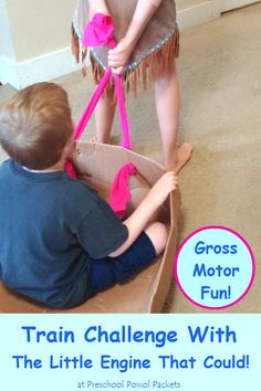 Train Challenge with The Little Engine That Could! Great gross motor activity for preschoolers and older children!