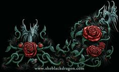 I do love painting roses and dragon Fairy type creatures, so it was fun getting to work on this commission for Spiral. Its set long and shaped this way as it was to wrap around a girls slanted one . My Fantasy World, Dark Fantasy Art, Dark Art, Dragon Rise, Dragon Art, Gothic Images, Gothic Art, Dream Catcher Vector, Black And Red Roses