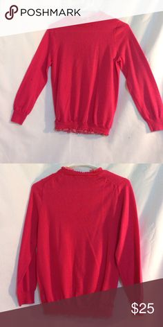 Tartine crewneck sweater Very pretty pink Long sleeve sweater with ruffles around the neck and around the bottom worn one time J. Crew Sweaters