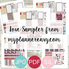 Free Printable Love Sampler for various planners from myplannerenvy.com