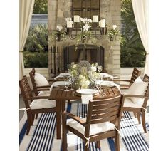 Love the outdoor fireplace with paned mirror over hearth