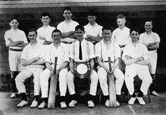 A cricket team holding a premiership shield.  Place & Date Depicted:Leongatha, Gippsland, Victoria, Australia, 1922  Creator:Miss Morgan Studio, 1922
