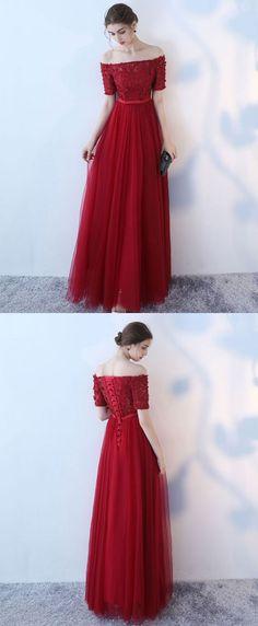 Burgundy tulle off shoulder long prom dress, burgundy eveninng dress M1652