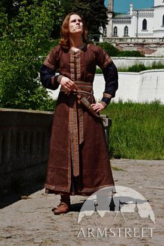Medieval Men's Costume: Long Tunic and Overcoat Set. armstreet, via Etsy.