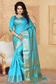 Aqua Banarasi Silk Saree With Blouse 65638