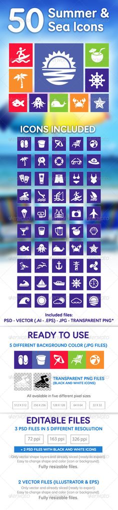 50 Summer & Sea Icons — Photoshop PSD #beach tennis #surf • Available here → https://graphicriver.net/item/50-summer-sea-icons/5159753?ref=pxcr