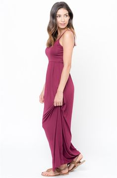 Drapey, soft knitted maxi tank dress made out of our softest jersey. Finished with a comfortable waistband in a relaxed fit, the silhouette of this dress will have you wear this in and out of the home.