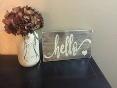 Rustic Wood Sign Hello Sign Rustic Hello Sign by AllThatsRustic