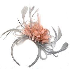 Silver Grey and Blush Pink Peach Salmon Fascinator on Headband Alice Band UK Wedding Ascot Races Derby