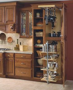 Schrock Pantry Storage Cabinets -- WOO HOO!! I love the storage for these pots and pans and our Kitchen Aid mixer