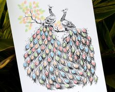 Hand Drawn peacock on the tree Fingerprint Wedding Thumb Print Guest Book,wedding guest book alternative D004