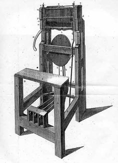 """Wooden hand-knitting frame, based on Lee's system, 17th century. The frame, which was originally iron, was usually reproduced in wood. In Germany, the machine was widely distributed under the name """"Rösschen-Stuhl"""". (""""Little Horse Knitting Frame"""")"""