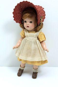 "Vintage Madame Alexander 13"" Flora McFlimsey Composition Doll w/Hat 1930's #MadameAlexanderDollCompany #DollswithClothingAccessories"
