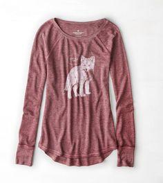 Summer Burgundy AEO Thermal Graphic T-Shirt. foxy