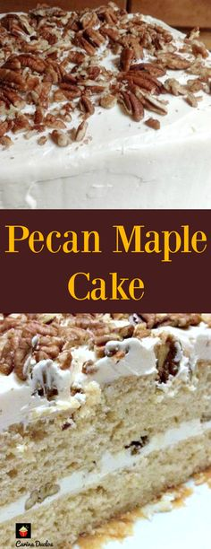 Pecan Maple Cake. This is a lovely, soft, moist cake with delicious pecans and maple syrup. Easy to make and perfect for a celebration!  | Lovefoodies.com