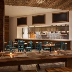 The communal and inviting restaurant at Hotel El Ganzo, designed by HKS, Dallas, TX.