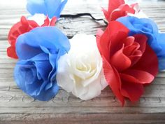 Patriotic Flower crown red white blue floral Headband by myfashioncreations, $18.50 @myfashioncreations