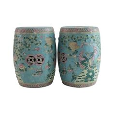 Image of Chinoiserie Porcelain Garden Stools - A Pair