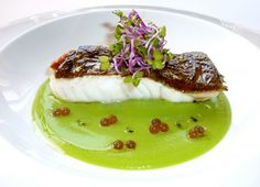Turbot with a pea cream and balsamic pearls