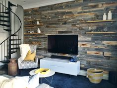 @stikwooddesign makes a beautiful reclaimed wood wall product that peels and stick's to the wall!