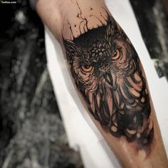 Owl And Triangle Tattoos On Lower Arm photo - 5