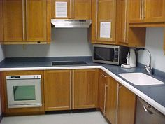 Countertop is designed with rounded edges to reduce the risk of injury - has contrasting color defining the edges.  This reduces spills and elated problems encountered by people with impaired vision.  Countertop is Corian with non-whiney surface.