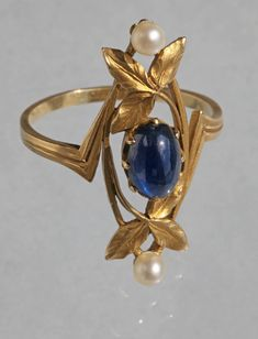 Tadema Gallery via Dibs Jan 2018 Gaston Lafitte Art Nouveau Gold Sapphire Pearl Ring 2 Art Nouveau Ring, Bijoux Art Nouveau, Art Nouveau Jewelry, Jewelry Art, Gold Jewelry, Jewelry Accessories, Fine Jewelry, Jewelry Design, Jewelry Rings